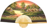 Oriental Furniture Asian Art, Decor and Gifts, 40-Inch Painted Thai Silk and Bamboo Decorative Wall Fan, Golden Village