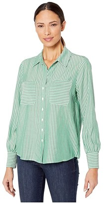 Vince Camuto Long Sleeve Two-Pocket Pinstripe Refresh Button-Down Shirt (Everglade) Women's Clothing