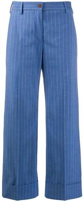 Brag-wette Turn Up Hem Striped Pattern Trousers
