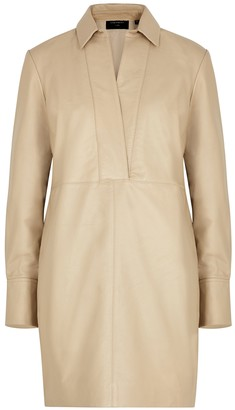 Equipment Riannon sand leather shirt dress