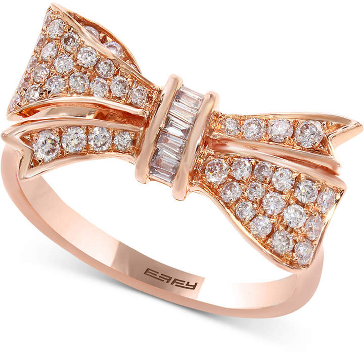 Effy Pave Rose by Diamond Bow Ring (3/8 ct. t.w.) in 14k Rose Gold
