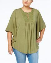 Melissa McCarthy Trendy Plus Size Embroidered Bib Top