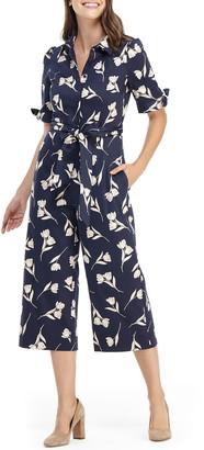 Gal Meets Glam Hayden Floral Crop Stretch Cotton Jumpsuit