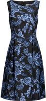 Lela Rose Betsey pleated floral-print satin dress