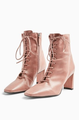 Topshop Womens Matilda Pink Lace Up Boots - Pink