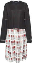 Prada Pleated Printed Crepe and Jersey Dress