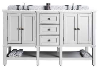 "JSG Oceana Ashlyn 60"" Double Bathroom Vanity Set Oceana Base Finish: Gray, Sink Finish: Black Nickel"