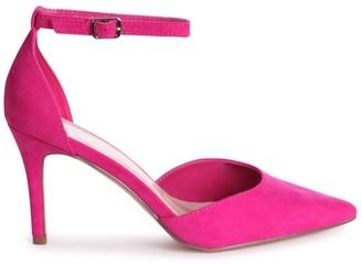 Linzi MACI - Fuchsia Suede Stiletto Court Heel With Ankle Strap