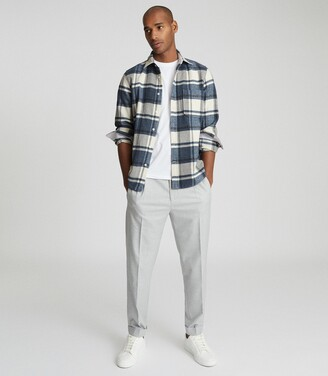 Reiss Paulie - Checked Overshirt in Airforce Blue