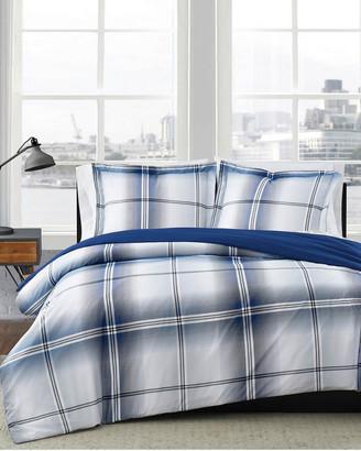 London Fog Nolan Houndstooth Stripe Duvet Cover Set