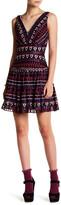 Anna Sui Hearts Embroidered Chiffon V-Neck Dress