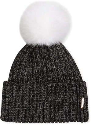 Gorski Metallic Wool Blend Hat w/ Fox Fur Pompom