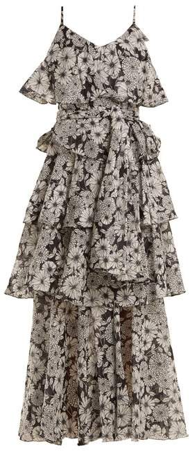 Lisa Marie Fernandez Imaan Ruffled Floral Print Cotton Dress - Womens - Black White