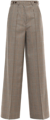 Rokh Houndstooth Wool Wide-leg Pants
