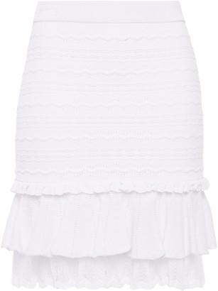 Jonathan Simkhai Tiered Pointelle-knit Mini Skirt