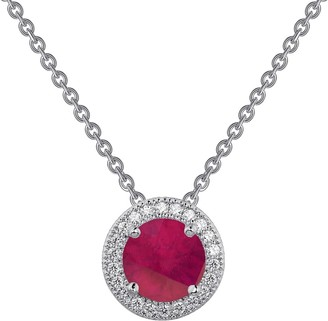 Lafonn Platinum Plated Sterling Silver Simulated Diamond Halo & Lab-Grown Ruby Sapphire Circle Pendant Necklace