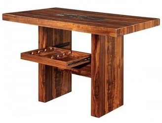 Union Rustic Sipes Counter Height Walnut Solid Wood Dining Table