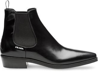 Prada Brushed calf leather booties