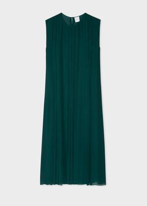 Women's Dark Petrol Silk Georgette Pintuck Dress