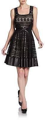 Mark & James by Badgley Mischka Faux Leather-Trimmed Lace Dress
