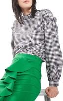 Topshop Petite Women's Gingham Mutton Sleeve Top