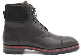 Christian Louboutin Citycroc Leather Lace-up Boots - Black