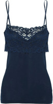Hanro Moments Stretch Leavers Lace-paneled Cotton-jersey Camisole - Navy