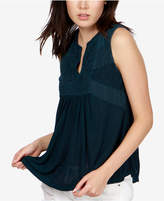 Lucky Brand Embroidered Split-Neck Shell