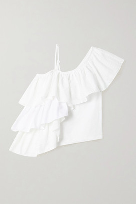 Marques Almeida Net Sustain Rem'ade By Ruffled Cotton Top - White