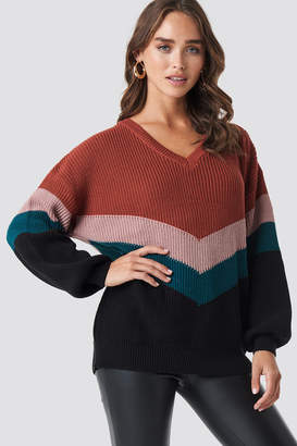 NA-KD Color Blocked Balloon Sleeve Knitted Sweater Pink
