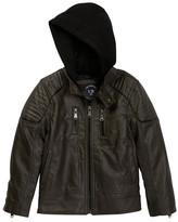 Urban Republic Fleece Hood Faux Leather Jacket (Little Boys)