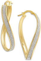 Italian Gold Glitter Wavy Hoop Earrings in 14k Gold