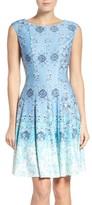 Gabby Skye Women's Print Scuba Fit & Flare Dress
