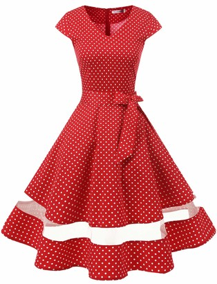 Gardenwed 1950s Rockabilly Cocktail Party Swing Dress Retro Ladies Dresses Vintage Dresses for Women Coral 3XL