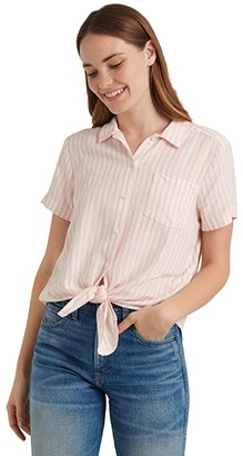 Lucky Brand Short Sleeve Button-Up One-Pocket Tie Front Shirt (Peach Multi) Women's Clothing