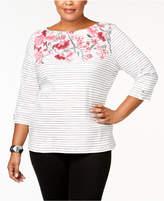 Karen Scott Plus Size Studded Boat-Neck Top, Created for Macy's
