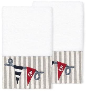 Linum Home Textiles 100% Turkish Cotton Ethan 2PC Embellished Hand Towel Set