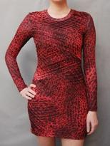 Torn By Ronny Kobo TORN long sleeve cheetah dress red