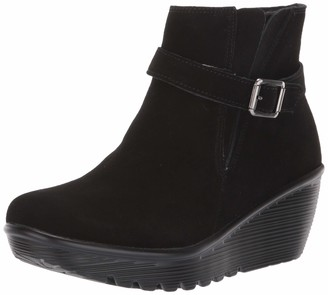 Skechers Women's Parallel-Buckle Strap Side Gore Zip Up Wedge Casual Comfort Ankle Boot Fashion