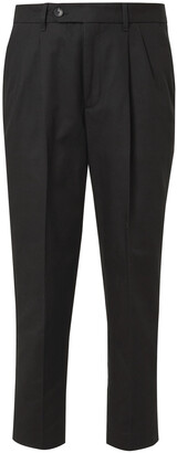 Mr P. Slim-Fit Tapered Pleated Cotton-Twill Trousers