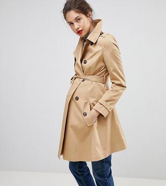 ASOS DESIGN Maternity trench coat in stone