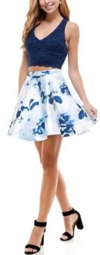 City Studios Juniors' 2-Pc. Lace & Floral-Print Bow-Back Dress