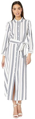 Vince Camuto Long Sleeve Valiant Stripe Tie Front Shirtdress (Pearl Ivory) Women's Dress