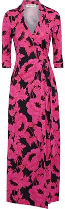 Diane von Furstenberg Printed Silk-jersey Maxi Wrap Dress