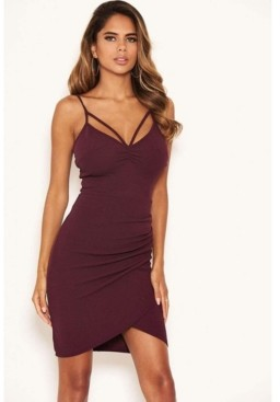 AX Paris Women's Strappy Ruched Bodycon Dress