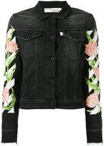 Off-White floral sleeve denim jacket - women - Cotton/Polyester/Spandex/Elastane - S
