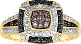 Black Diamond FINE JEWELRY 1/10 CT. T.W. White, Champagne and Color-Enhanced Ring