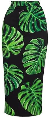 Dolce & Gabbana Tropical Leaf-Print Charmeuse Midi Pencil Skirt