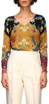 Etro Sweater Long-sleeved Shirt In Silk And Cashmere With Cross Pattern By