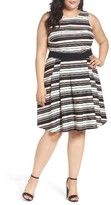 Gabby Skye Plus Size Women's Belted Stripe Fit & Flare Dress
